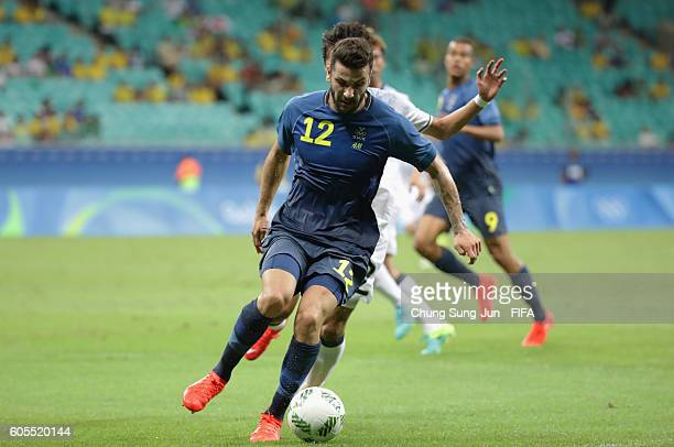 Mikael Ishak of Sweden controls the ball during the Men's Football match between Japan and Sweden on Day 5 of the Rio 2016 Olympic Games at Arena...