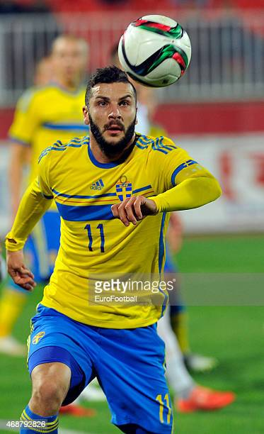 Mikael Ishak of Sweden controls the ball during the Under21 friendly football match between Serbia and Sweden on March 27 2015 at the Karadjordje...