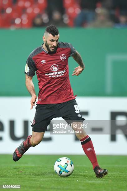 Mikael Ishakof Nuernberg plays the ball during the DFB Cup match between 1 FC Nuernberg and VfL Wolfsburg at MaxMorlockStadion on December 19 2017...