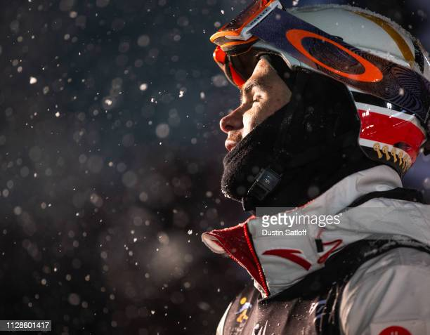 Mikael Kingsbury of Canada after finishing in first place in the Men's Dual Moguls Final of the FIS Freestyle Ski World Championships on February 9...