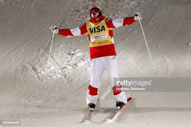 Mikael Kingsbury of Canada celebrates after crossing the finish line to win the Men's Dual Moguls during the FIS Freestyle World Cup at Deer Valley...