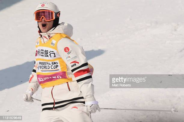 Mikael Kingsbury of Canada celebrates during day one of the Men's FIS Freestyle Skiing World Cup Tazawako on February 23 2019 in Senboku Akita Japan