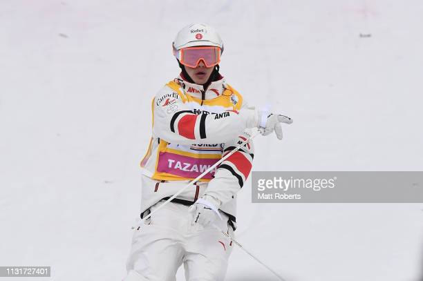 Mikael Kingsbury of Canada celebrates during day two of the Men's FIS Freestyle Skiing World Cup Tazawako on February 24 2019 in Senboku Akita Japan