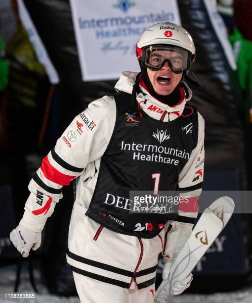 Mikael Kingsbury of Canada celebrates finishing in first place after the Men's Moguls Final of the FIS Freestyle Ski World Championships on February...