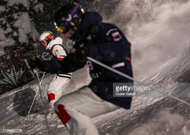 Mikael Kingsbury of Canada during his eight final race against Max Willis of Great Britain during the Men's Dual Moguls Final of the FIS Freestyle...