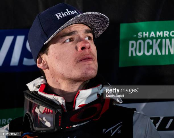 Mikael Kingsbury of Canada on the podium after finishing first place in the Men's Moguls Final of the FIS Freestyle Ski World Championships on...
