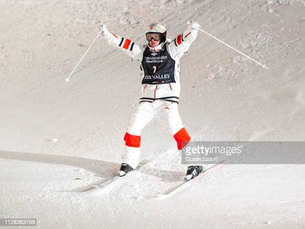Mikael Kingsbury of Canada reacts after crossing the finish line on his way to winning the Men's Moguls Final of the FIS Freestyle Ski World...