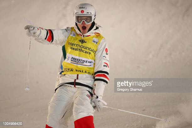 Mikael Kingsbury of Canada reacts as he crosses the finish line to win the Men's Dual Moguls at the FIS Freestyle Ski World Cup at Deer Valley on...