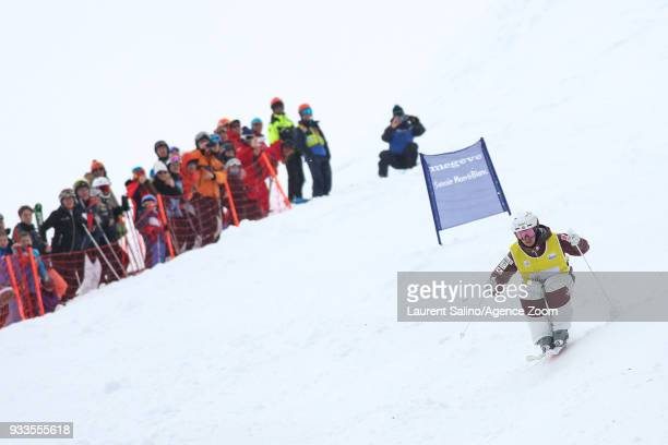 Mikael Kingsbury of Canada takes 1st place during the FIS Freestyle Ski World Cup Men's and Women's Moguls Finals on March 18, 2018 in Megeve, France.