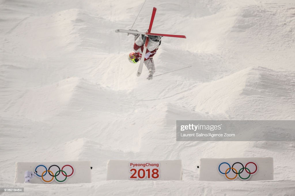 Mikael Kingsbury of Canada takes 1st place during the Freestyle Skiing Men's & Women's Moguls Qualifications at Pheonix Snow Park on February 9, 2018 in Pyeongchang-gun, South Korea.