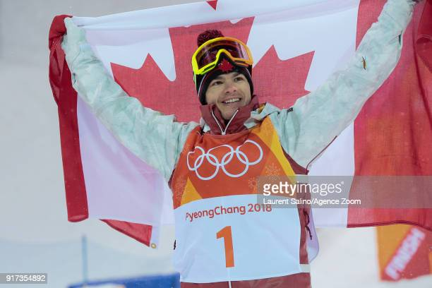 Mikael Kingsbury of Canada takes 1st place during the Freestyle Skiing Men's Moguls Finals at Pheonix Snow Park on February 12 2018 in Pyeongchanggun...
