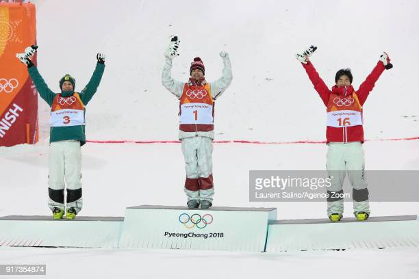 Mikael Kingsbury of Canada takes 1st place Matt Graham of Australia takes 2nd place Daichi Hara of Japan takes 3rd place during the Freestyle Skiing...