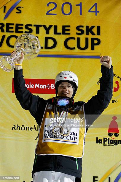 Mikael Kingsbury of Canada takes first place and wins the Overall Freestyle World Cup globe during the FIS Freestyle Ski World Cup Men's and Women's...