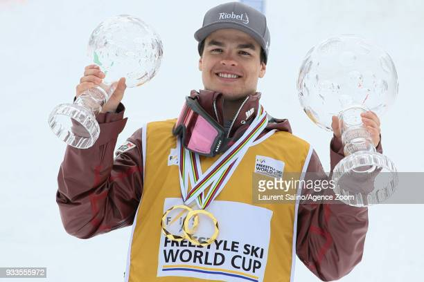Mikael Kingsbury of Canada wins the globe in the overall standings during the FIS Freestyle Ski World Cup Men's and Women's Moguls Finals on March 18...