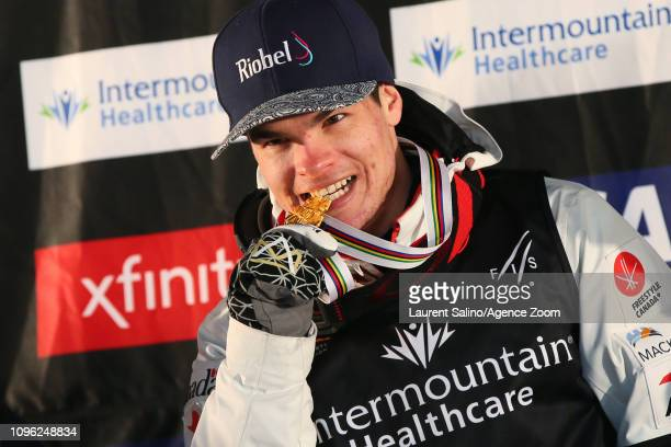 Mikael Kingsbury of Canada wins the gold medal during the FIS World Freestyle Ski Championships Men's and Women's Moguls on February 8 2019 in Park...