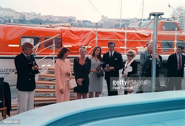 Mikael Krafft , Königin Silvia von Schweden,;Ehefrau Ann Krafft, Prinzessin Lillian von;Schweden, Taufe des weltgrößten 5-Mast;Vollschiffs, Monaco,...