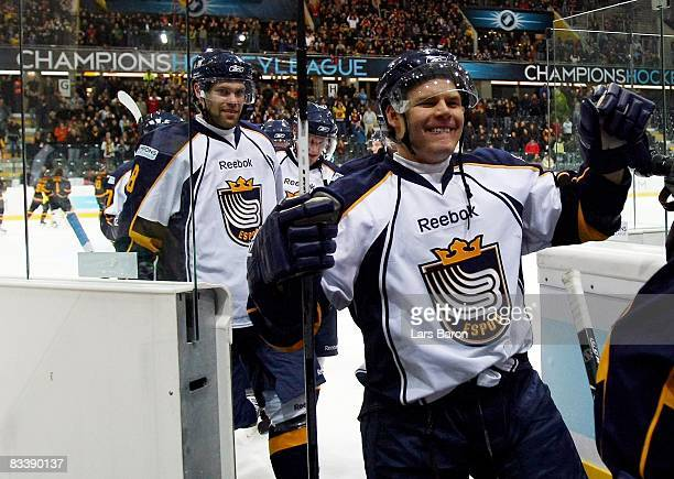 Mikael Kurki of Espoo celebrates after victory in the IIHF Champions Hockey League match between SC Bern and Espoo Blues at the PostFinance Arena on...