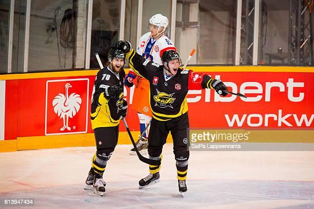 Mikael Kuronen and Etu Koski of Lappeenranta during the Champions Hockey League Round of 32 match between SaiPa Lappeenranta and Tappara Tampere at...