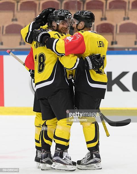 Mikael Kuronen of SaiPa Lappeenranta celebrates his goal during the Champions Hockey League match between Lulea Hockey and SaiPa Lappeenranta at Coop...