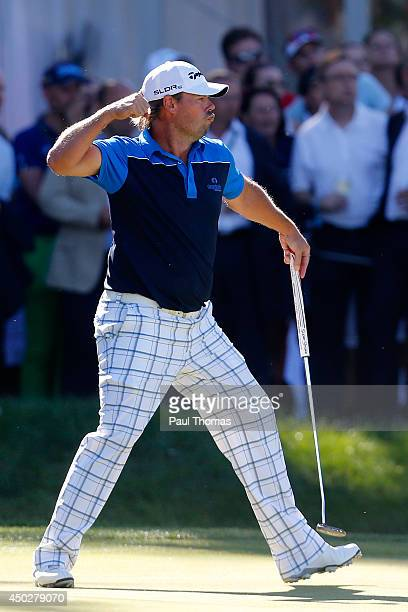 Mikael Lundberg of Sweden celebrates after holing a putt in a playoff during the Lyoness Open day four at the Diamond Country Club on June 8 2014 in...