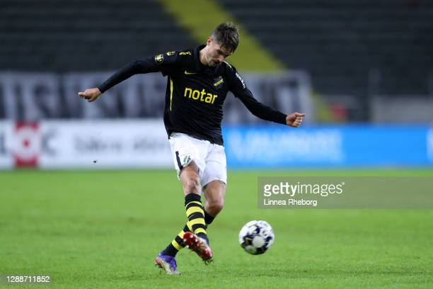 Mikael Lustig of AIK shoots during the Allsvenskan match between AIK and Kalmar FF at Friends arena on November 30, 2020 in Solna, Sweden. Sporting...