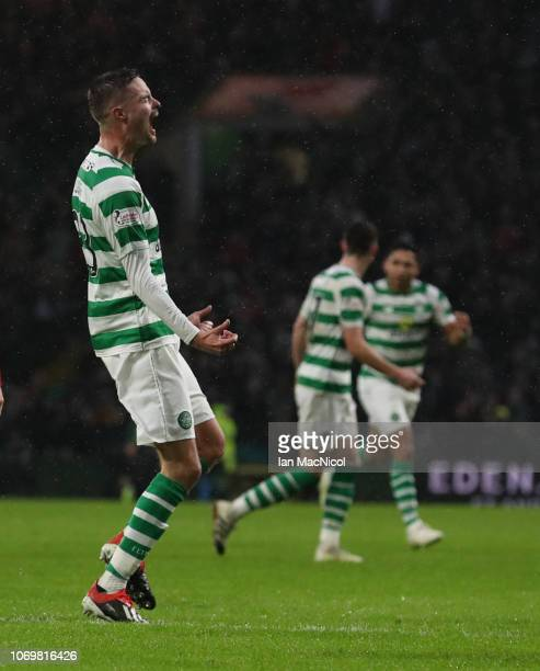 Mikael Lustig of Celtic celebrates after he scores his team's third goal during the Scottish Ladbrokes Premiership match Celtic and Kilmarnock at...
