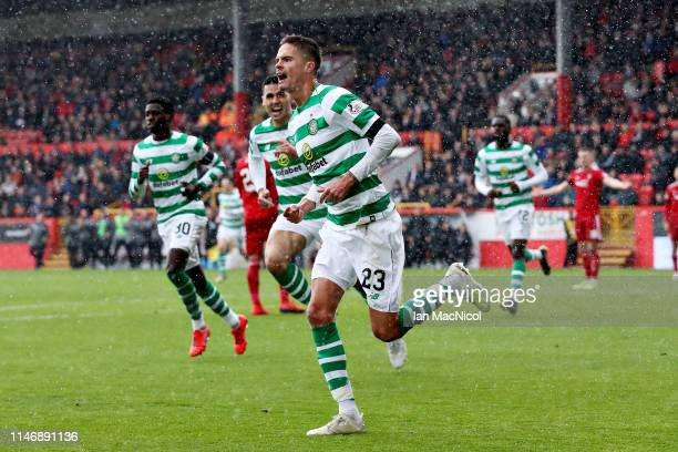 Mikael Lustig of Celtic celebrates scoring the opening goal during the Ladbrokes Scottish Premiership match between Aberdeen and Celtic at Pittodrie...
