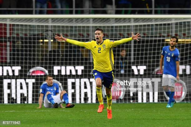 Mikael Lustig of Sweden celebrates after the victory at the end of the FIFA 2018 World Cup Qualifier PlayOff Second Leg between Italy and Sweden at...