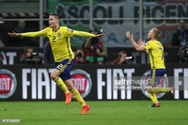 Mikael Lustig of Sweden celebrates at full time during the FIFA 2018 World Cup Qualifier PlayOff Second Leg between Italy and Sweden at San Siro...