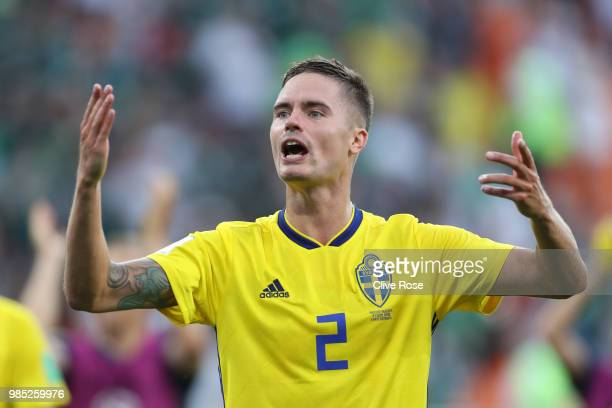 Mikael Lustig of Sweden celebrates victory following the 2018 FIFA World Cup Russia group F match between Mexico and Sweden at Ekaterinburg Arena on...
