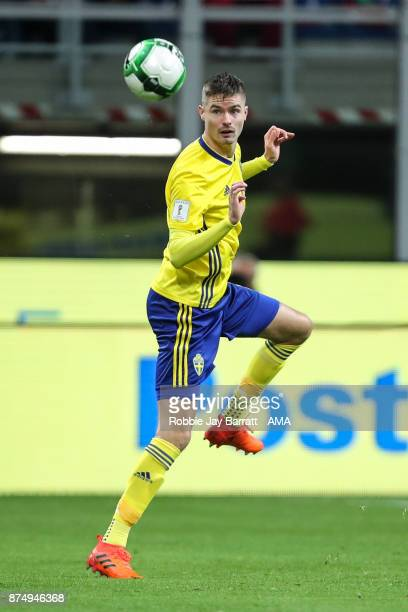 Mikael Lustig of Sweden during the FIFA 2018 World Cup Qualifier PlayOff Second Leg between Italy and Sweden at San Siro Stadium on November 13 2017...