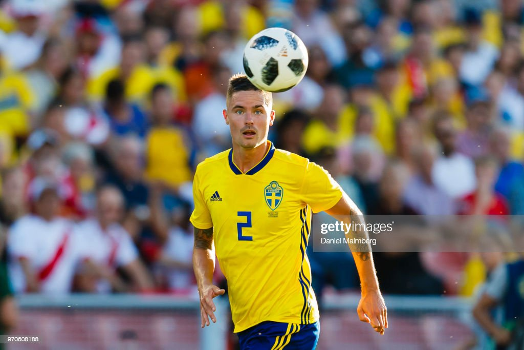 Mikael Lustig #2 of Sweden focused on the ball during the international friendly match between Sweden v Peru at the Ullevi Stadium on June 9, 2018 in Gothenburg, Sweden.