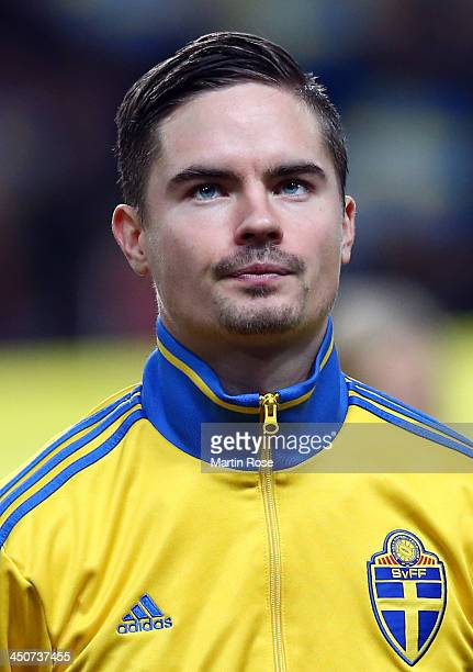 Mikael Lustig of Sweden looks on before the FIFA 2014 World Cup Qualifier Play-off Second Leg match between Sweden and Portugal at Friends Arena on...