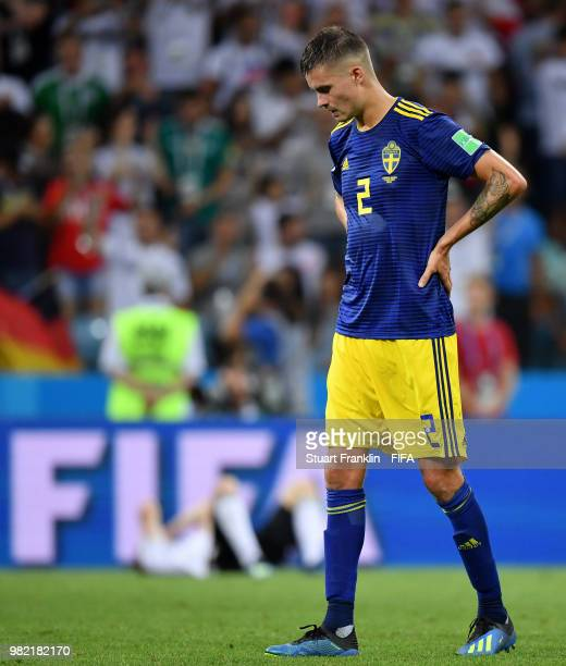 Mikael Lustig of Sweden stands dejected following the 2018 FIFA World Cup Russia group F match between Germany and Sweden at Fisht Stadium on June 23...
