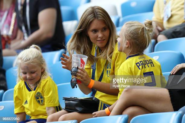 Mikael Lustig of Sweden's wife Josefin Johnsson looks on during the 2018 FIFA World Cup Russia Quarter Final match between Sweden and England at...