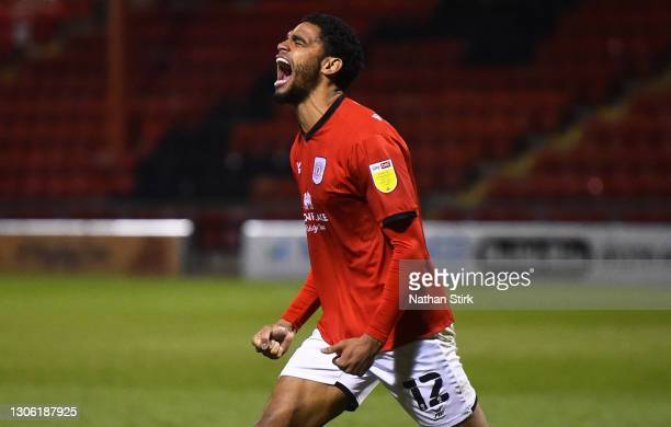 Mikael Mandron of Crewe celebrates as he scores their first goal during the Sky Bet League One match between Crewe Alexandra and Doncaster Rovers at...