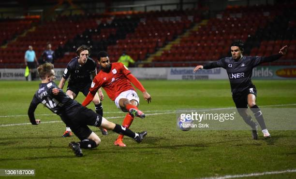 Mikael Mandron of Crewe scores their first goal during the Sky Bet League One match between Crewe Alexandra and Doncaster Rovers at The Alexandra...