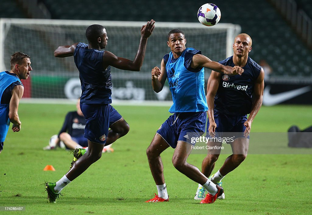 Mikael Mandron of Sunderland heads the ball away during a Sunderland Barclays Asia Trophy training session at Hong Kong Stadium on July 23, 2013 in So Kon Po, Hong Kong.