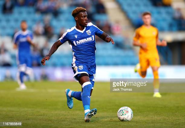 Mikael Ndjoli of Gillingham FC runs with the ball during the Carabao Cup First Round match between Gillingham and Newport County at MEMS Priestfield...