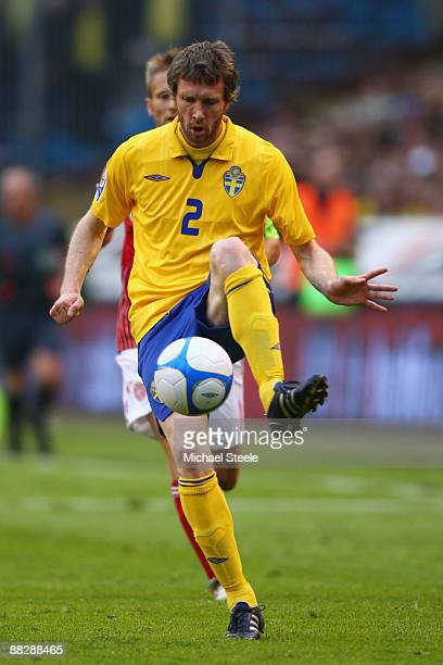 Mikael Nilsson of Sweden during the FIFA2010 World Cup Qualifying Group 1 match between Sweden and Denmark at the Rasunda Stadium on June 6, 2009 in...