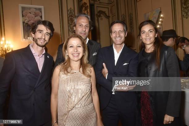 """Mikael Petrossian, Karine Ohana, Francois Pourcher, Stephane Baudry and Anais Petrossian attend the Cocktail """"Karine Ohana And Co"""" Hosted by Katia..."""