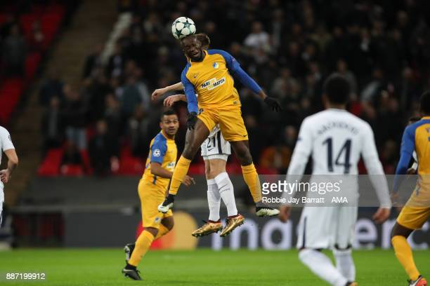 Mikael Pote of Apoel and Juan Foyth of Tottenham Hotspur during the UEFA Champions League group H match between Tottenham Hotspur and APOEL Nikosia...