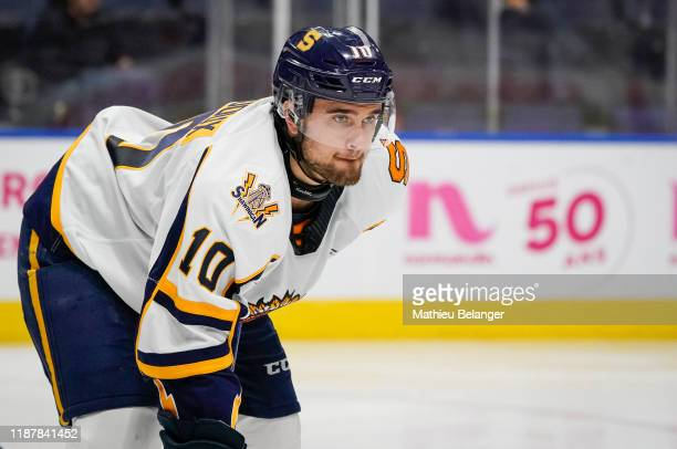 Mikael Robidoux of the Shawinigan Cataractes skates during his QMJHL hockey game at the Videotron Center on October 26, 2019 in Quebec City, Quebec,...