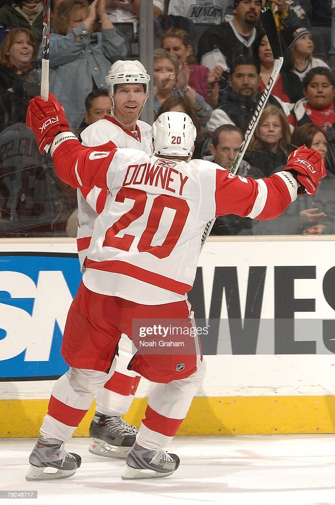 Mikael Samuelsson #37, Aaron Downey #20 of the Detroit Red Wings celebrate Samuelsson's second period goal against the Los Angeles Kings on January 22, 2008 at the Staples Center in Los Angeles, California