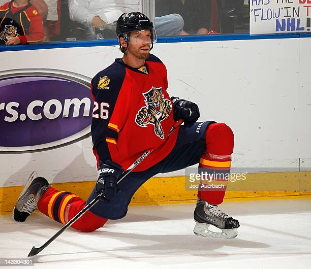 Mikael Samuelsson of the Florida Panthers stretches prior to the game against the New Jersey Devils in Game Five of the Eastern Conference...