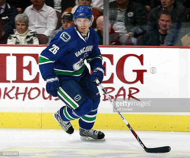 Mikael Samuelsson of the Vancouver Canucks skates up ice during their game against the Detroit Red Wings at General Motors Place on October 27 2009...