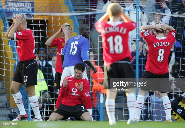 Mikael Silvestre, Alan Smith, Cristiano Ronaldo, Paul Scholes and Wayne Rooney of Manchester United show their disappointment after a missed chance...