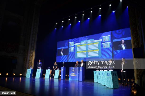 Mikael Silvestre Camille Abily Sarai Bareman and Rhiannon Martin Damien Seguin and Aela Mocaer announce the groups during the official draw for the...