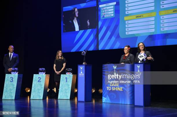 Mikael Silvestre Camille Abily Sarai Bareman and Rhiannon Martin announce the groups during the official draw for the FIFA U20 Women's World Cup...