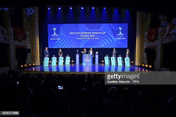 Mikael Silvestre Camille Abily Sarai Bareman Rhiannon Martin Damien Seguin and Aela Mocaer announce the groups during the official draw for the FIFA...